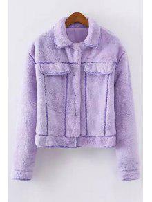 Faux Fur Turn-Down Collar Long Sleeves Coat PURPLE: Jackets ...