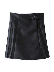 Buy PU Leather Pleated Solid Color Skirt - BLACK L