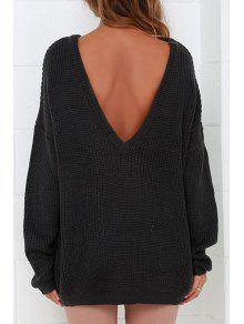2018 round neck low back sweater in black one size fit size xs to m