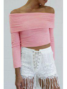 Solid Color Slash Neck Long Sleeve Crop Top - Pink M