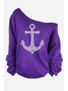 One-Shoulder Anchor Print T-Shirt - Purple Xl