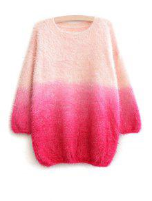 Ombre Color Long Sleeve Sweater - Red