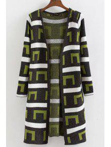Buy Geometric Pattern Long Sleeves Cardigan - GREEN ONE SIZE(FIT SIZE XS TO M)