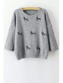 Buy Animal Embroidery Print Round Collar 3/4 Sleeves Sweater - GRAY ONE SIZE(FIT SIZE XS TO M)