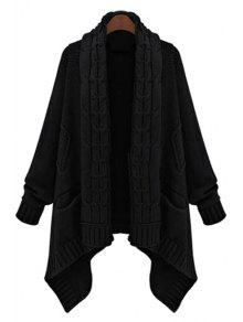 Cable Knit Long Thick Cardigan BLACK: Sweaters ONE SIZE(FIT SIZE ...