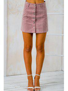 Buy Faux Suede High Waist Solid Color Skirt - PINK XL