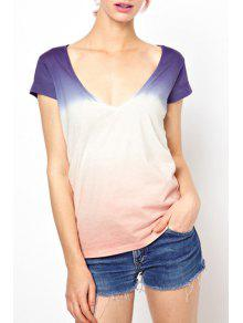 Buy Short Sleeve Ombre Color T-Shirt - PINK XS