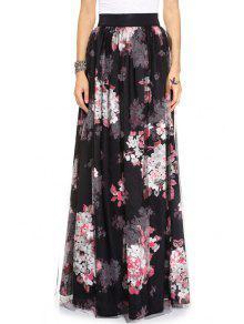 Buy Full Flower Print High Waist Skirt - BLACK S