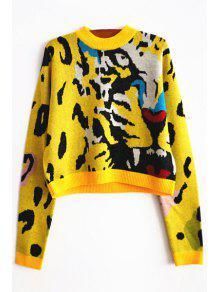 Tiger Pattern Round Neck Long Sleeve Jumper - Yellow M