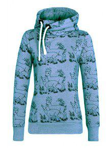 Fawn Print Stand Neck Long Sleeve Sweatshirt - Blue S
