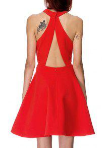 ff3f8e3e9b6 37% OFF  2019 Solid Color Backless Cut Out Keyhole Neckline Dress In ...