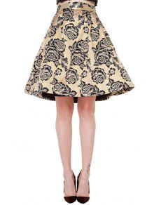 Buy Retro Floral Print High Waisted A-Line Skirt - CHAMPAGNE XS