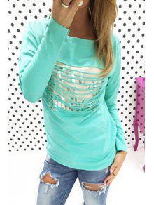 Buy Letters Print Scoop Neck Long Sleeve T-Shirt - LIGHT BLUE M