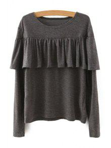 Tassels Spliced Long Sleeve T-Shirt - Khaki M