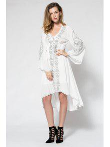 فستان مطرزة عالية انخفاض ماكسي - أبيض M