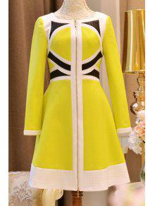 فستان دائرة الرقبة كتلة اللون عالية الخصر - الأصفر Xl