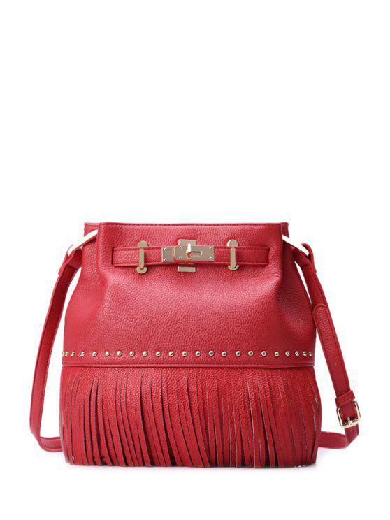 ladies Metal Fringe Solid Color Crossbody Bag - RED