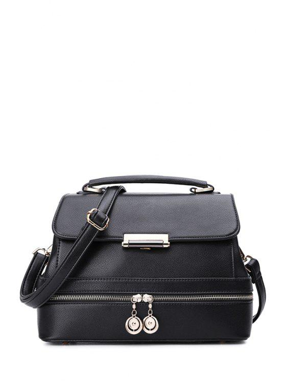 best Zipper Solid Color Metal Crossbody Bag - BLACK