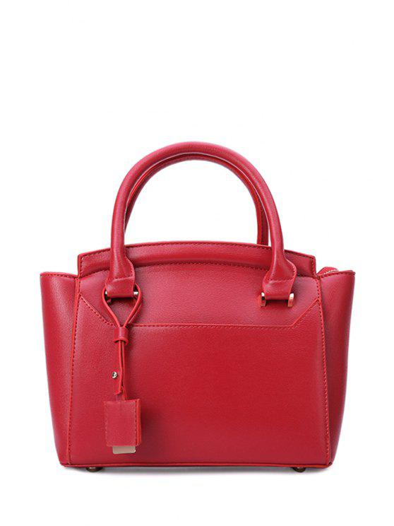 shop Pendant Stitching Pure Color Tote Bag - RED