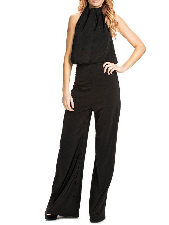buy Halter Backless Black Palazzo Jumpsuit - BLACK S
