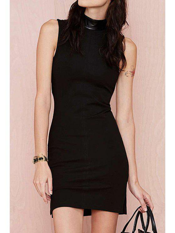 outfit Stand Neck Sleeveless Black Bodycon Dress - BLACK XS