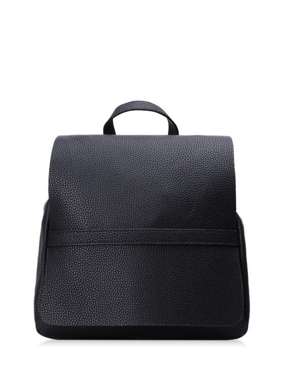 outfits Cover Stitching Solid Color Satchel - BLACK