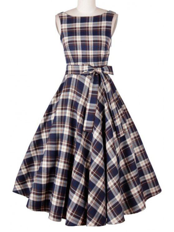 fashion Plaid Print Pleated Slash Neck Sleeveless Dress - BLUE S
