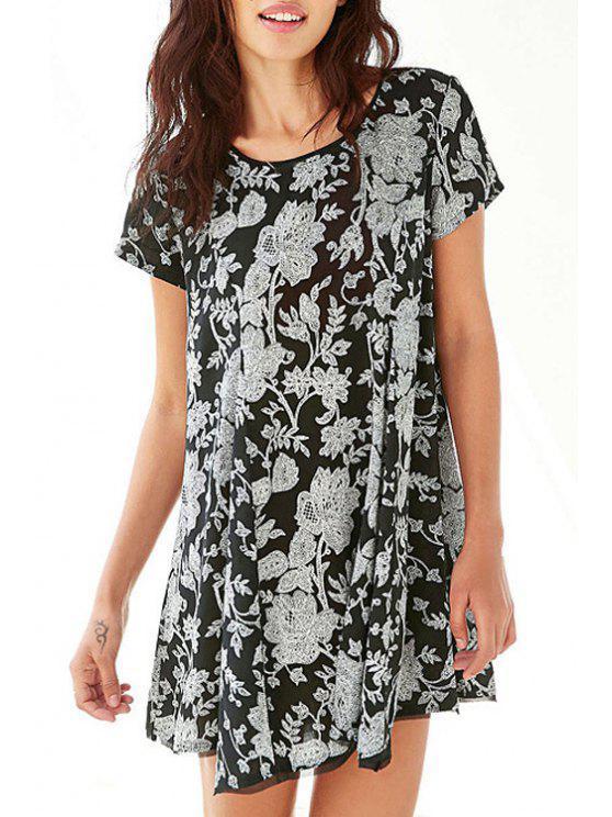 lady Short Sleeve Floral Print Flare Dress - BLACK XS