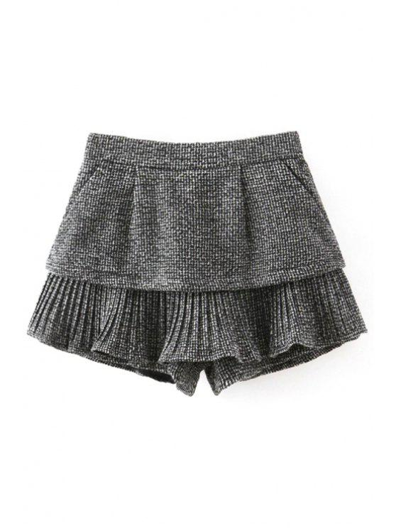 buy Solid Color High Waist Pleated Pantskirt - GRAY L