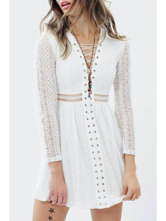 trendy Long Sleeve See-Through Lace Dress - WHITE S