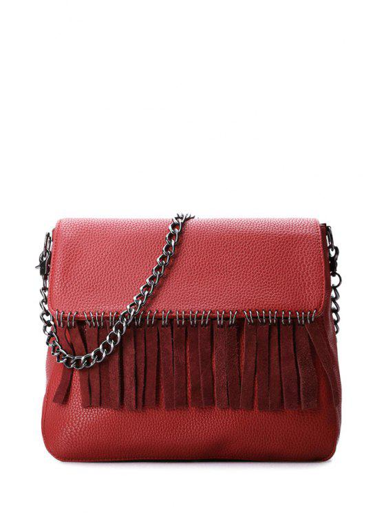 ladies Fringe Chains Solid Color Crossbody Bag - RED