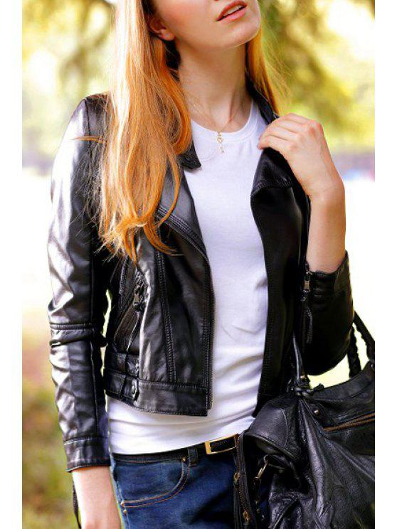 buy Solid Color PU Leather Chic Stand Collar Jacket - BLACK L