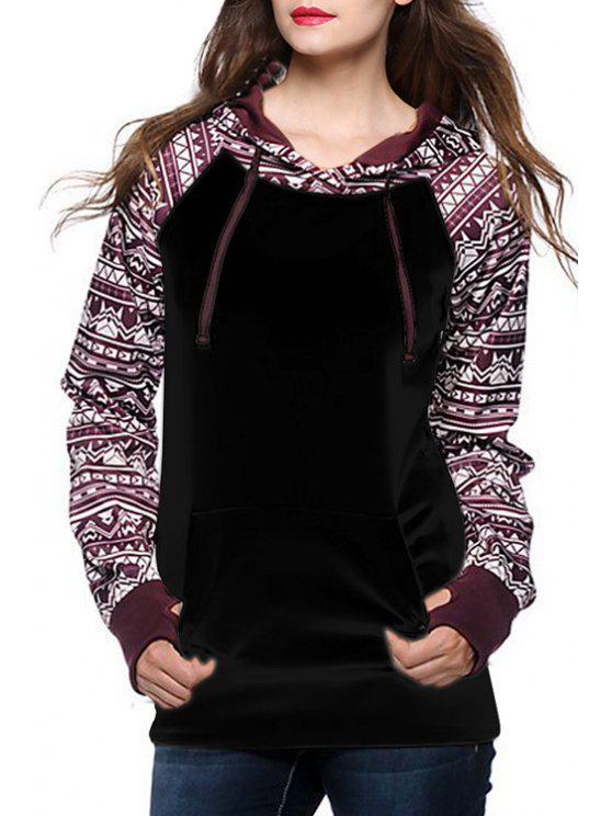 hot Ethnic Print Spliced Long Sleeve Pullover Hoodie - BLACK M