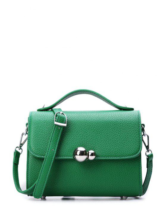 new Metal Pure Color Embossing Crossbody Bag - GREEN
