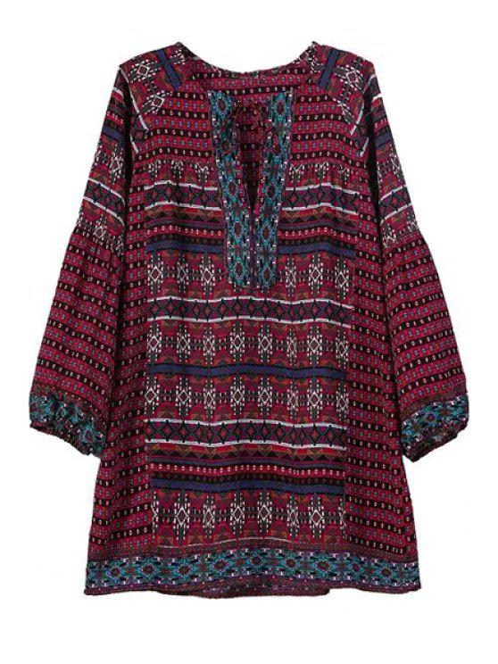 sale Argyle Print Square Neck Long Sleeve Blouse - RED S