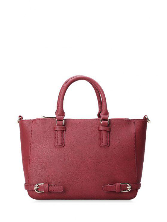 trendy Buckles Solid Color PU Leather Tote Bag - RED