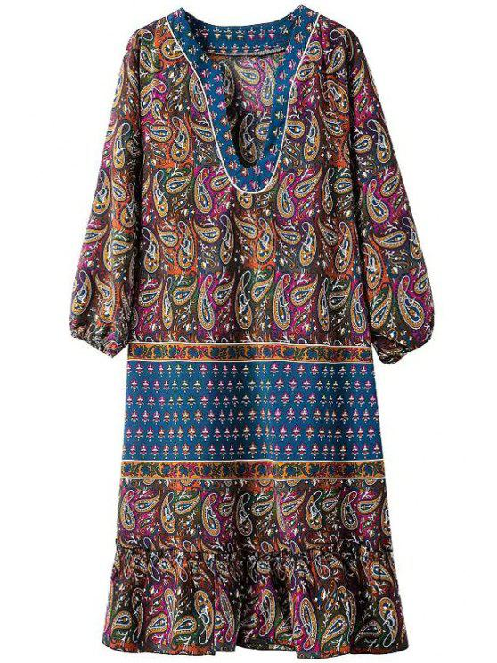 trendy Paisley Print V Neck Long Sleeve Dress - COLORMIX S
