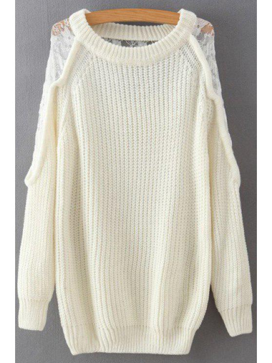 outfit Lace Splicing Scoop Neck Long Sleeve Jumper - OFF-WHITE ONE SIZE(FIT SIZE XS TO M)