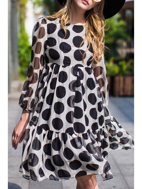 women Long Sleeve Polka Dot High-Waisted Dress - BLACK AND WHITE S