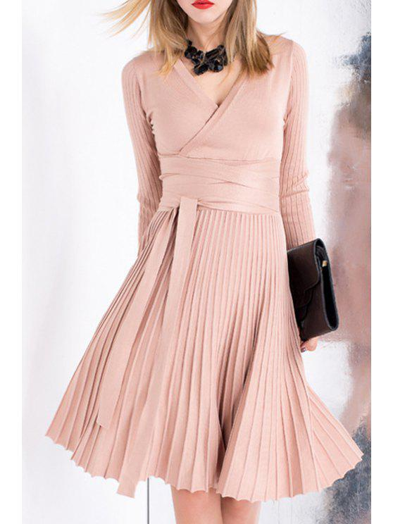 shops V-Neck Long Sleeves Solid Color Knitted Pleated Dress - PINK S