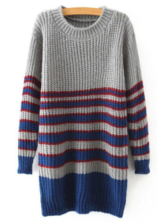shops Stripe Jewel Neck Long Sleeve Jumper - GRAY ONE SIZE(FIT SIZE XS TO M)