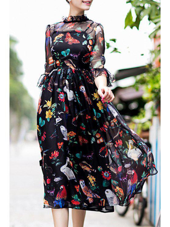 latest See-Through Printed Beach Ruffles Collar Dress - BLACK S