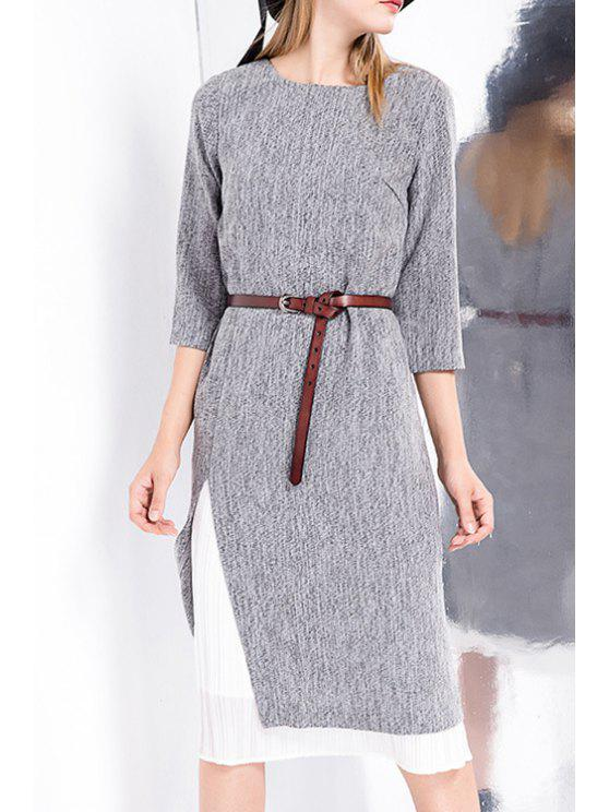 lady 3/4 Sleeve Belted Slit Dress - GRAY S