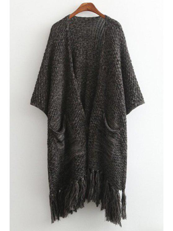 latest Tassels Spliced 3/4 Sleeve Cardigan - DEEP GRAY ONE SIZE(FIT SIZE XS TO M)