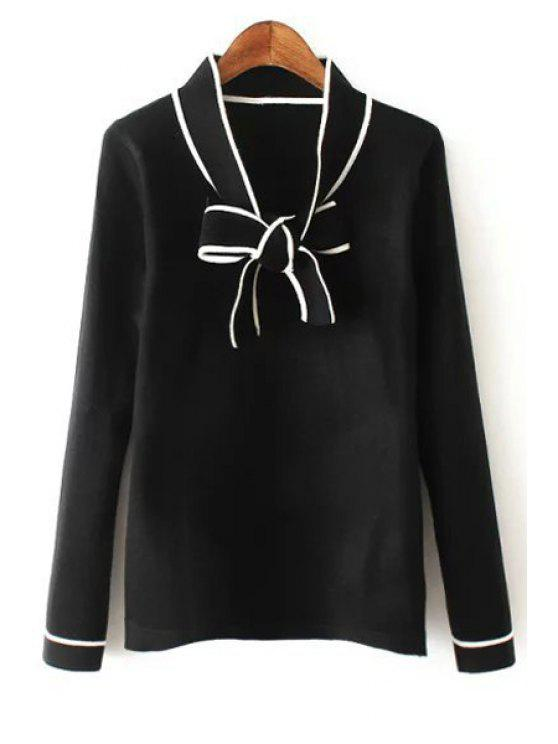 latest Bow Tie Collar Long Sleeve Sweater - BLACK ONE SIZE(FIT SIZE XS TO M)
