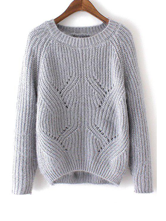 unique Sweet Round Neck Pure Color Jumper - GRAY ONE SIZE(FIT SIZE XS TO M)