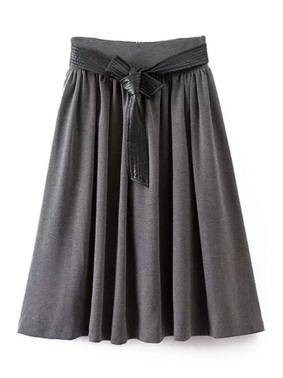chic A-Line Self-Tie Belt Midi Skirt - GRAY L