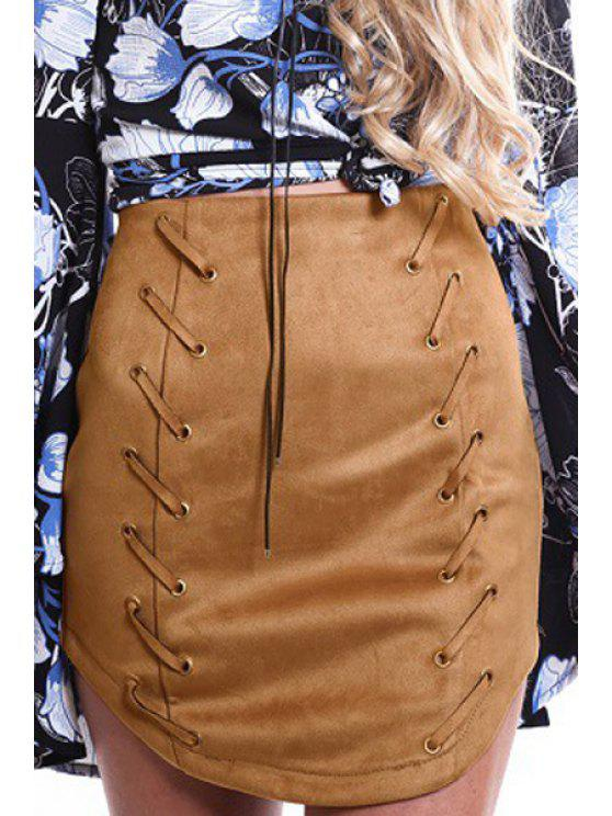 fancy Solid Color Lace-Up Suede High Waisted Skirt - CAMEL S