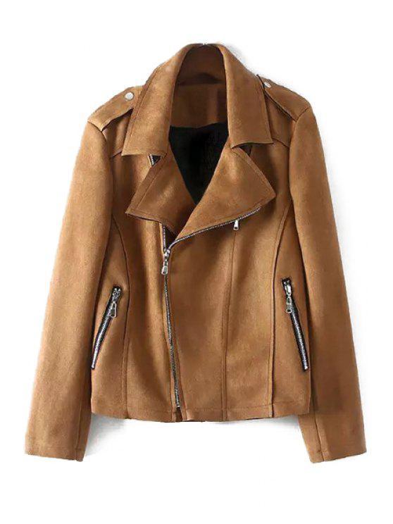 shops Lapel Zip Pockets Fringed Suede Jacket - KHAKI XL