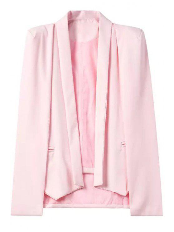 fashion Shawl Neck Cape Design Pink Blazer - PINK M